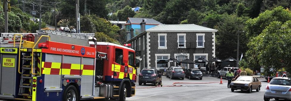 Several fire appliances were called to the historic Carey's Bay Hotel in Port Chalmers on Wednesday afternoon. 02012019. PHOTO: CHRISTINE O'CONNOR