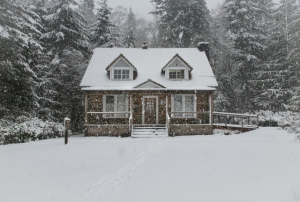 Fire safety tips for the winter season house with snow outside